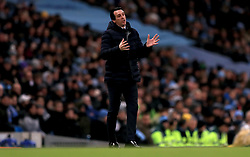 Arsenal manager Unai Emery gestures on the touchline