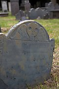 A skull grave marker at the Circular Congregational Church cemetery in Charleston, SC. Charleston founded in 1670 is considered America's most beautifully preserved architectural and historic city.