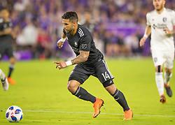 April 21, 2018 - Orlando, FL, U.S. - ORLANDO, FL - APRIL 21: Orlando City forward Dom Dwyer (14) during the MLS soccer match between the Orlando City FC and the San Jose Earthquakes at Orlando City SC on April 21, 2018 at Orlando City Stadium in Orlando, FL. (Photo by Andrew Bershaw/Icon Sportswire) (Credit Image: © Andrew Bershaw/Icon SMI via ZUMA Press)