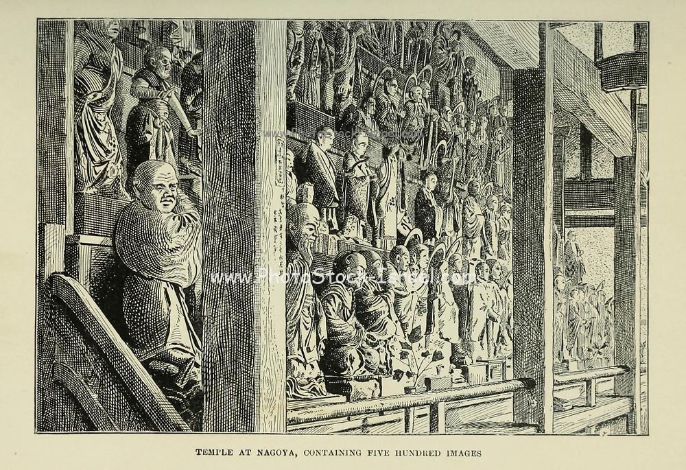 Temple at Nagoya, containing five hundred images from the book ' Rambles in Japan : the land of the rising sun ' by Tristram, H. B. (Henry Baker), 1822-1906. Publication date 1895. Publisher New York : Revell