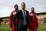Michael Flynn , the Newport County manager walks off the pitch at the end of the game.The Emirates FA Cup, 2nd round match, Newport County v Cambridge United at Rodney Parade in Newport, South Wales on Sunday 3rd December 2017.<br /> pic by Andrew Orchard,  Andrew Orchard sports photography.