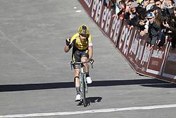 March 9, 2019 - Siena, Italy - Third Belgian Wout Van Aert of Team Jumbo-Visma celebrates on the finish line of the Strade Bianche one day cycling race in Siena, Italy, Saturday 09 March 2019...BELGA PHOTO YUZURU SUNADA (Credit Image: © Yuzuru Sunada/Belga via ZUMA Press)