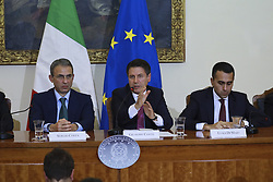 Italy, Caserta -  November 19, 2018.A protocol of understanding on the 'Land of Fires' toxic-waste fire area near Naples (Campania region) signed in Caserta..Premier Giuseppe Conte and deputy Premier Luigi Di Maio attend a press conference. The Interior Minister Matteo Salvini, did not attend   the conference for a dinner at the Quirinale palace.From left Sergio Costa, Giuseppe Conte and Luigi Di Maio. (Credit Image: © Garofalo/Giacomino/Ropi via ZUMA Press)