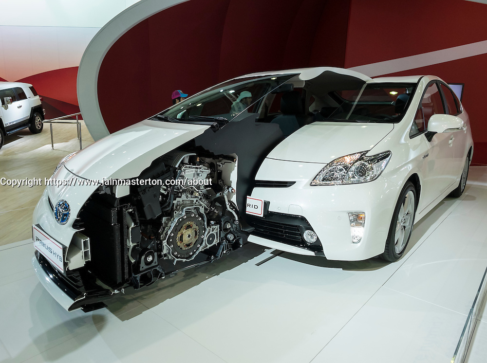 Toyota Prius Hybrid cut-away exhibit showing engine at the Dubai Motor Show 2013 United Arab Emirates