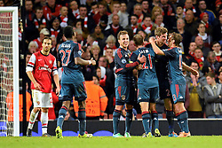 19.02.2014, Emirates Stadion, London, ENG, UEFA CL, FC Arsenal vs FC Bayern Muenchen, Achtelfinale, im Bild Bayern Munich's Thomas Muller celebrates scoring, goal // Bayern Munich's Thomas Muller celebrates scoring, goal during the UEFA Champions League Round of 16 match between FC Arsenal and FC Bayern Munich at the Emirates Stadion in London, Great Britain on 2014/02/19. EXPA Pictures © 2014, PhotoCredit: EXPA/ Mitchell Gunn<br /> <br /> *****ATTENTION - OUT of GBR*****