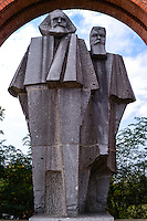 Budapest, Hungary.  Memento Park with 42 pieces of art from the Communist era. Marx and Engels.
