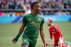 November 4, 2018 - Portland, OR, U.S. - PORTLAND, OR - NOVEMBER 04: Portland Timbers striker Jeremy Ebobisse (17) celebrates a goal during the Portland Timbers first leg of the MLS Western Conference Semifinals against the Seattle Sounders on November 04, 2018, at Providence Park in Portland, OR. (Photo by Diego Diaz/Icon Sportswire) (Credit Image: © Diego Diaz/Icon SMI via ZUMA Press)