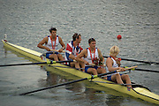 Shunyi, CHINA. GBR M4- Bow Tom JAMES, Steve WILLIAMS, Peter REED, and Andy TRIGGS HODGE move away from the presentation pontoon with their gold medals after the medal ceremony,  Olympic Regatta, Shunyi Rowing Course.  Sunday  17/08/2008  [Mandatory Credit:  Svend Aage Nielsen/  Intersport Images]