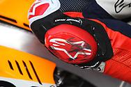 The knee slider of #93 Marc Marquez, Spanish: Repsol Honda Team during the Gran Premio Motul de la Comunitat Valenciana at Circuito Ricardo Tormo Cheste, Valencia, Spain on 15 November 2019.