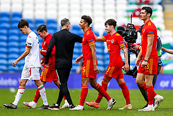 Wales manager Ryan Giggs congratulates matchwinner Neco Williams after he scores an injury time goal in a 1-0 win - Rogan/JMP - 06/09/2020 - FOOTBALL - Cardiff City Stadium - Cardiff, Wales - Wales v Bulgaria - UEFA Nations League Group B4.