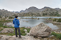 Hiker at Island Lake Wind River Range Wyoming