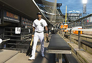 CHICAGO - SEPTEMBER 25:  Tim Anderson #7 of the Chicago White Sox walks through the dugout prior to the game against the Cleveland Indians on September 25, 2019 at Guaranteed Rate Field in Chicago, Illinois.  (Photo by Ron Vesely)  Subject:   Tim Anderson