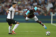 Cristian Sapunaru of Astra Giurgiu tackles Michail Antonio of West Ham United (r). UEFA Europa league, 1st play off round match, 2nd leg, West Ham Utd v Astra Giurgiu at the London Stadium, Queen Elizabeth Olympic Park in London on Thursday 25th August 2016.<br /> pic by John Patrick Fletcher, Andrew Orchard sports photography.