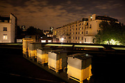 Bees in bed at Lancaster Hotel London. Bees never sleep but they stay in the hive after dark. Keeping bees is a growing hobby in London and the hives and apiaries can be found in back gardens and roof tops across the capital.