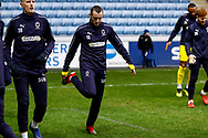 Wimbledon midfielder Dylan Connolly (16) warming up  during the EFL Sky Bet League 1 match between Coventry City and AFC Wimbledon at the Ricoh Arena, Coventry, England on 12 January 2019.