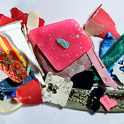 Small plastic items collected from a tidal pool at Dalebrook, South Africa.