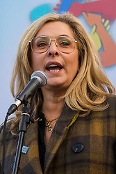 © Licensed to London News Pictures. 08/12/2019. London, UK. Actress, Tracy-Ann Oberman speaking  to Jewish and non-Jewish supporters from the campaign groups 'Campaign Against Antisemitism' and 'Together Against Antisemitism' at a solidarity rally against antisemitism in public life and hate crime, held at Parliament Square in Westminster.  Photo credit: Vickie Flores/LNP