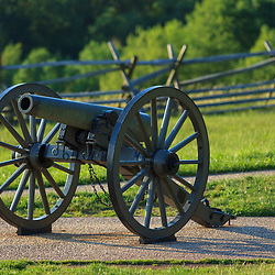 Gettysburg, PA, USA - March 23, 2012: Civil war cannons on the Gettysburg Battlefield west of the town.