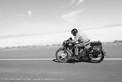 The oldest Motorcycle Cannonball rider on the earliest bike - Victor Boocock riding his 1914 Harley-Davidson during stage 12 (299 m) of the Motorcycle Cannonball Cross-Country Endurance Run, which on this day ran from Springville, UT to Elko, NV, USA. Wednesday, September 17, 2014.  Photography ©2014 Michael Lichter.