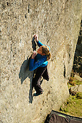 Katy Whittaker on the desperate boulder problem of Walk On By, 7C+, Curbar
