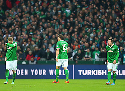 Football: Germany, 1. Bundesliga<br /> Aaron Hunt, Sebastian Proedl and Philipp Bargfrede (SV Werder Bremen)
