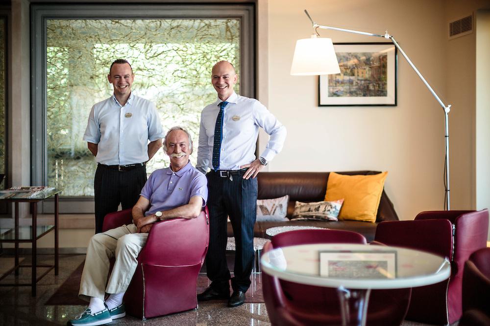 """22 JUN 2012 - Malcesine (VR) - Lago di Garda - I titolari dell'hotel """"Castello"""": Matteo, Ugo e Marco Treccani."""