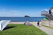 day camping at Umikaze park in Yokosuka with Tokyo Bay and Sarushima Island