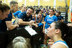 Damir Grgić head coach of Slovenia with players during basketball match qualifications for European Championship, round 1, between national teams Slovenia and Greece in Arena Celje - Center, 14. November, Ljubljana, Slovenia. Photo by Grega Valancic / Sportida