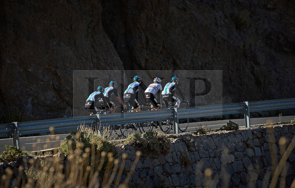F.A.O Lisa McCLean Daily Telegraph picture desk. ©Ben Cawthra. 19/05/2012. Tenerife, Spain. Three time Olympic gold medalist, cyclist Bradley Wiggins (centre of group white top) with the Sky Pro Cycling team training on the roads surrounding the volcanic island of Tenerife in Spain. Photo credit: Ben Cawthra