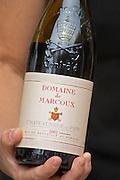 A bottle of Domaine de Marcoux 2002. The restaurant Le Verger de Papes in  Chateauneuf-du-Pape Vaucluse, Provence, France, Europe