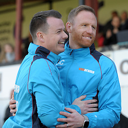 TELFORD COPYRIGHT MIKE SHERIDAN 6/4/2019 - Former Telford teammates Gavin Cowan and Chorley boss Jamie Vermiglio embrace before the Vanarama Conference North fixture between Chorley FC and AFC Telford United at Victory Park