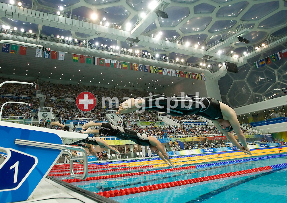 Steffen DEIBLER of Germany starts for the first leg in the men's 4x100m freestyle relay heats held at the National Aquatics Center at the Beijing 2008 Olympic Games in Beijing, China, Thursday, Sept. 11, 2008. (Photo by Patrick B. Kraemer / MAGICPBK)