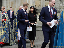 The Duke of Cambridge, Prince Harry and Meghan Markle attend an Anzac Day Service of Commemoration and Thanksgiving at Westminster Abbey, London, UK, on the 25th April 2018. Picture by Eddie Mulholland/WPA-Pool. 25 Apr 2018 Pictured: Prince Harry, Meghan Markle, Prince William, Duke of Cambridge. Photo credit: MEGA TheMegaAgency.com +1 888 505 6342