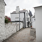 Whitewashed buildings in Beaumaris on the island of Anglesey of the north coast of Wales, UK.