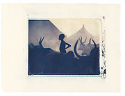 Nuer Cattle Camp, Nasir, Southern Sudan<br /> Image 4x5, matted 12x10 Edition of 25<br /> Archival Pigment Print
