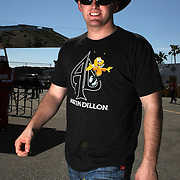NASCAR Sprint Cup driver Austin Dillon is seen in the garage area, during a NASCAR Daytona 500 practice session at Daytona International Speedway on Wednesday, February 20, 2013 in Daytona Beach, Florida.  (AP Photo/Alex Menendez)