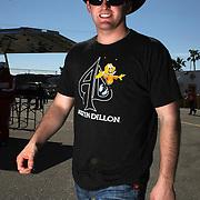 NASCAR Sprint Cup driver Austin Dillon is seen in the garage area, during a NASCAR Daytona 500 practice session at Daytona International Speedway on Wednesday, February 20, 2013 in Daytona Beach, Florida.  (AP Photo/Alex Menendez)