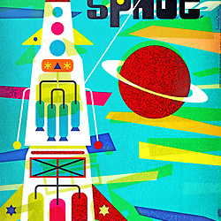 Space Age Mid Century Rocket illustration with planet and shapes on textured background