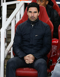 Arsenal manager Mikel Arteta seen before kick off - Mandatory by-line: Arron Gent/JMP - 27/02/2020 - FOOTBALL - Emirates Stadium - London, England - Arsenal v Olympiacos - UEFA Europa League Round of 32 second leg