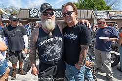 Tropical Tattoo's Willie Jones with custom bike builder Jeff Cochran at the Chopper Time annual old school chopper show at Willie's Tropical Tattoo in Ormond Beach during Daytona Beach Bike Week, FL. USA. Thursday, March 14, 2019. Photography ©2019 Michael Lichter.