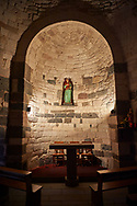 Picture and image of the interior of the Byzantine Romanesque church of Santa Sabina at Santa Sabina Nuragic archaeological site, Middle Bronze age , Silanus ,  Sardinia. .<br /> <br /> If you prefer you can also buy from our ALAMY PHOTO LIBRARY  Collection visit : https://www.alamy.com/portfolio/paul-williams-funkystock/nuraghe-santa-sabina-sardinia.html<br /> Visit our PREHISTORIC PLACES PHOTO COLLECTIONS for more   photos  to download or buy as prints https://funkystock.photoshelter.com/gallery-collection/Prehistoric-Neolithic-Sites-Art-Artefacts-Pictures-Photos/C0000tfxw63zrUT4