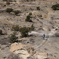 Navajo Technical University biology students collect soil samples from the West Mesa site in Crownpoint Thursday, April 15. The students visited several uranium sites around Crownpoint to collect soil.