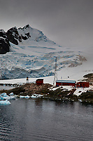 Panorama of Paradise Harbor and Brown Station (Estación Científica Almirante Brown) in Antarctica from the Deck of the Hurtigruten MS Fram. (11 of 16) Image taken with a Fuji X-T1 camera and Zeiss 32 mm f/1.8 lens (ISO 200, 32 mm, f/16, 1/500 sec). Raw images processed with Capture One Pro, Focus Magic, Photoshop CC 2015, and AutoPano Giga Pro
