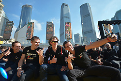 October 28, 2017 - Shanghai, China - Alberto CONTADOR (SPA) teakes a selfie with his team-mates from Trek–Segafredo team signs an autograph to a fan, during the 1st TDF Shanghai Criterium 2017 - Media Day..On Saturday, 28 October 2017, in Shanghai, China. (Credit Image: © Artur Widak/NurPhoto via ZUMA Press)