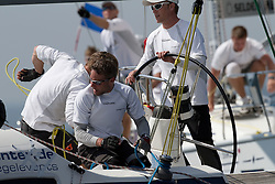 Jesper Radich leads Ian Williams into the bottom mark during their quarter final on day 4 Match Race Germany 2010. World Match Racing Tour. Langenargen, Germany. 23 May 2010. Photo: Gareth Cooke/Subzero Images/WMRT