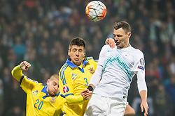 Yevhen Khacheridi (UKR) vs  Milivoje Novakovic (SLO) during the UEFA EURO 2016 Play-off for Final Tournament, Second leg between Slovenia and Ukraine, on November 17, 2015 in Stadium Ljudski vrt, Maribor, Slovenia. Photo by Ziga Zupan / Sportida
