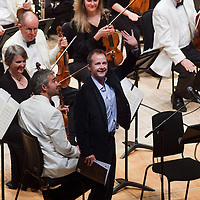 Over 650 singers from nine NYCoS Area Choirs throughout Scotland with the black shirts of the Changed Voice section of NYCoS National Boys Choir, conducted by Christopher Bell and joined by the Orchestra of Scottish Opera perform Tom Cunningham's specially commissioned 'Seven Planets and a Cosmic Rock ' at The Royal Concert Hall.  Actor Billy Boyd (pictured), patron of the National Boys Choir, narrated this section of the show.<br /> Glasgow. Sunday 8th May 2011<br /> Picture Drew Farrell<br /> Tel : 07721-735041.<br /> Note to Editors:  This image is free to be used editorially in the promotion of the NYCOS. Without prejudice ALL other licences without prior consent will be deemed a breach of copyright under the 1988. Copyright Design and Patents Act  and will be subject to payment or legal action, where appropriate. For further information please contact Vicky Tibbitt Marketing and Communications Manager 0141-287-2801.