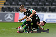 Olly Cracknell of the Ospreys ©gets up after scoring his teams 2nd try.  Guinness Pro12 rugby match, Ospreys v Connacht rugby at the Liberty Stadium in Swansea, South Wales on Saturday 7th January 2017.<br /> pic by Andrew Orchard, Andrew Orchard sports photography.