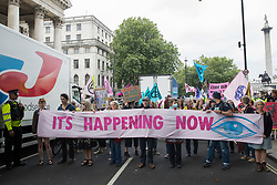 London, UK. 23rd August, 2021. Environmental activists from Extinction Rebellion march from Trafalgar Square during the first day of Impossible Rebellion protests. Extinction Rebellion are calling on the UK government to cease all new fossil fuel investment with immediate effect. Credit: Mark Kerrison/Alamy Live News