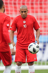 June 22, 2018 - Moscow, RUSSIA - Tunesia's Wahbi Khazri pictured during a training session of Tunisian national soccer team in the Spartak stadium, in Moscow, Russia, Friday 22 June 2018. The team is preparing for their second game against Belgium tomorrow at the FIFA World Cup 2018. BELGA PHOTO BRUNO FAHY (Credit Image: © Bruno Fahy/Belga via ZUMA Press)